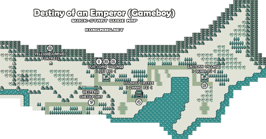 Destiny of an Emperor Gameboy Map - Begin in Xuzhou (1) (3) (6). Yellow Scarves Fortress (2) to the west. Xuzhou (4) to the southeast. Eastern Village to the far east along the trail (5). Western Checkpoint to the southwest (7).
