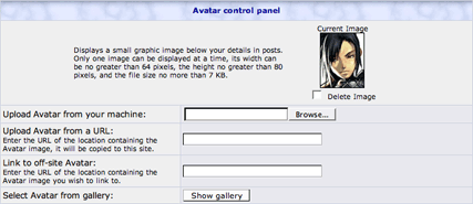 "phpBB ""Change Avatar"" Menu Interface"